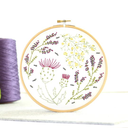 Highland Heathers Embroidery Kit with Hoop, Hawthorn Handmade