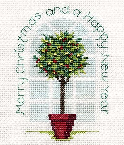 Holly Tree Cross Stitch Christmas Card Kit, Derwentwater Designs