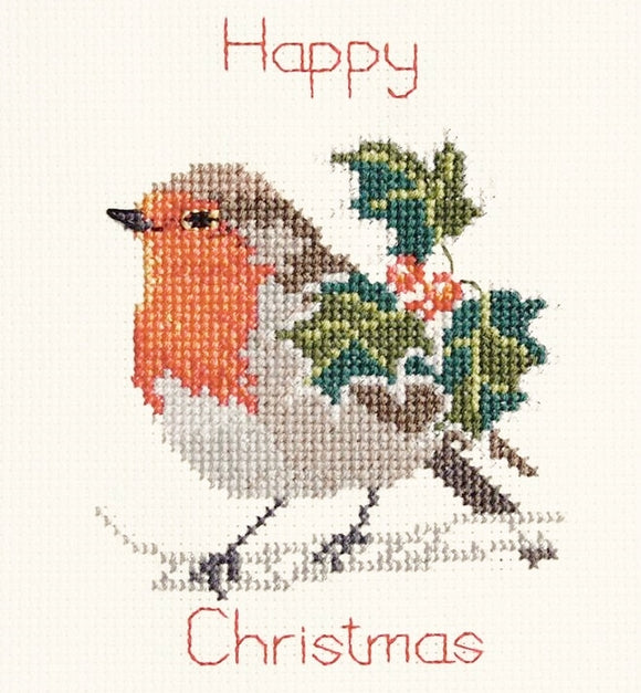 Holly and Robin Cross Stitch Christmas Card Kit, Derwentwater Designs