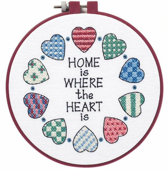 Home Heart PRINTED Cross Stitch Kit with Hoop, Learn-a-Craft D72408