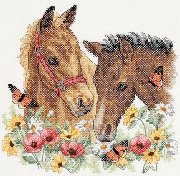 Horse Friends PRINTED Cross Stitch Kit, Dimensions D03230