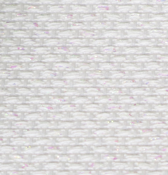 Aida 14 count Cotton Fabric, Zweigart 14ct Aida, PER METER - Lurex Opalescent