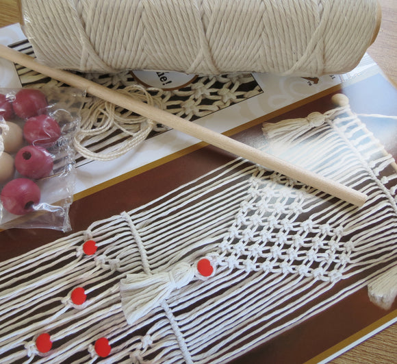 Macrame Kit, Macrame Wall Hanging Cotton Knot Kit Heart 24