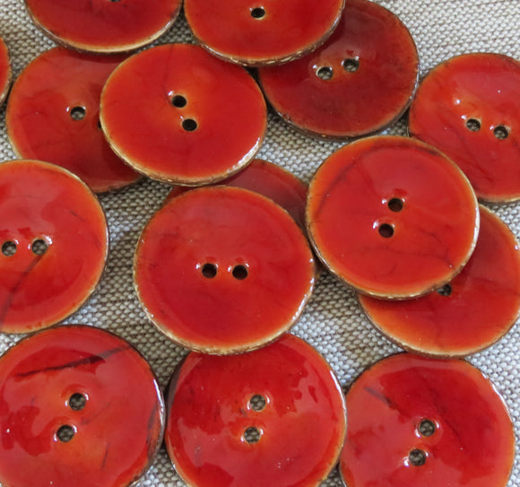 Glazed Coconut Buttons,  Rustic Red Button - Large, 30mm