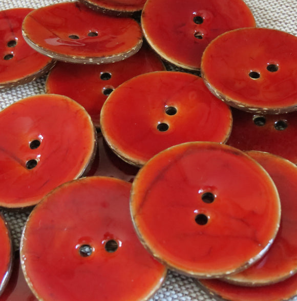 Glazed Coconut Buttons,  Rustic Red Button - Extra Large,  40mm