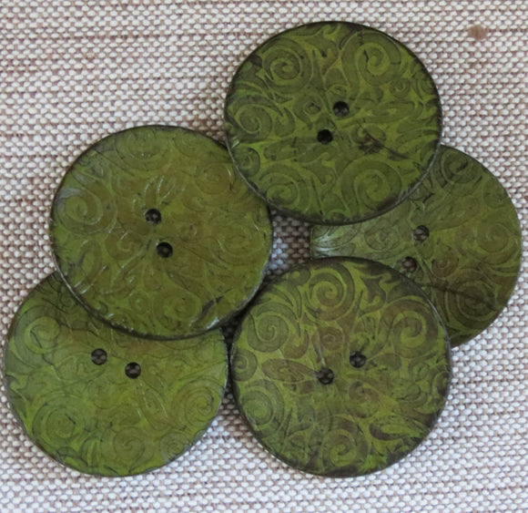 Coconut Buttons, Sage Green Textured Flock Coconut Button - Extra Large, 40mm