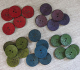 Coconut Buttons, Red Textured Flock Coconut Button - Large, 30mm