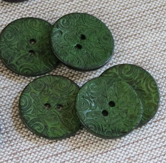 Coconut Buttons, Forest Green Textured Flock Coconut Button - Large, 30mm