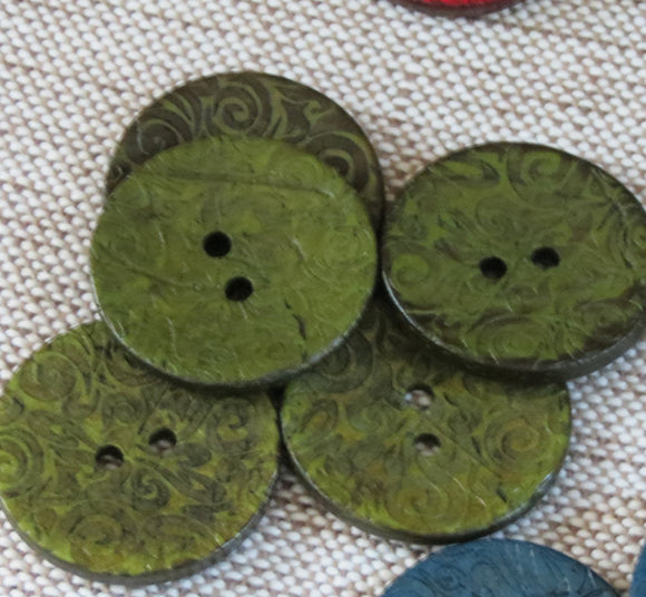 Coconut Buttons, Sage Green Textured Flock Coconut Button -Large, 30mm