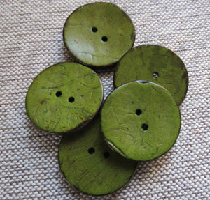 Coconut Buttons, Sage Green Rustic Textured Coconut Button - Large, 30mm