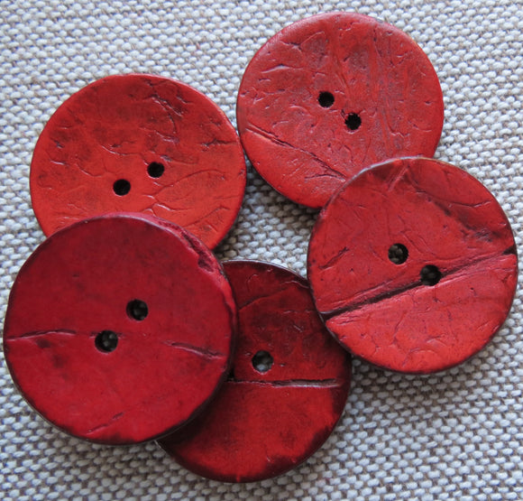 Coconut Buttons, Red Rustic Textured Coconut Button - Large, 30mm