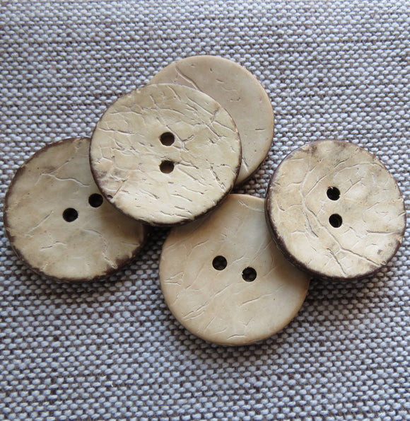 Coconut Buttons, Cream Rustic Textured Coconut Button - Large, 30mm