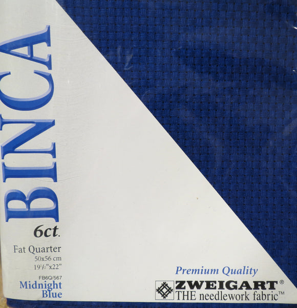 Aida 6 count Fabric, Zweigart 6ct Binca - Fat Quarter, FQ567 Midnight Blue