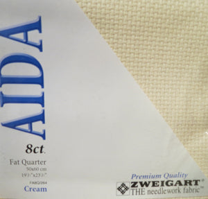 Aida 8 count Cotton Fabric, Zweigart 8ct Aida Binca - Fat Quarter, FQ264 Cream