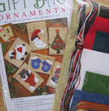 Wool Felt Embroidery Applique Kit, Christmas Ornaments / Gift Bags Set