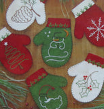 Wool Felt Embroidery Applique Kit, Christmas Mittens Ornaments / Gift Bags