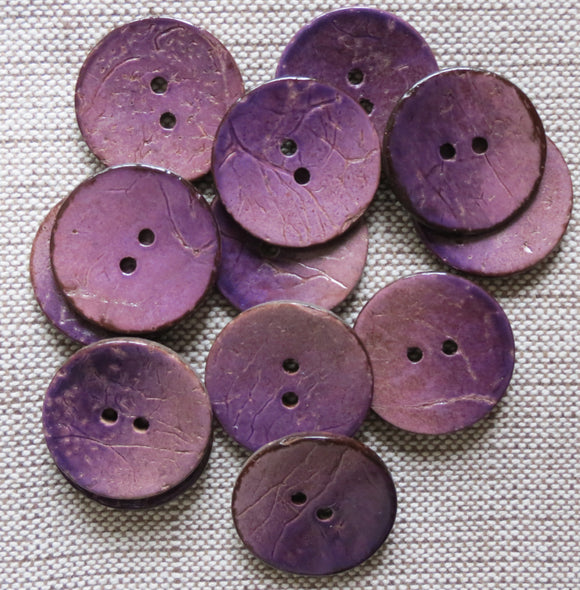 Coconut Buttons, Heather Rustic Textured Coconut Button - Large, 30mm
