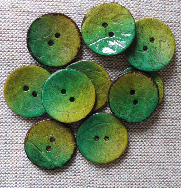 Coconut Buttons, Meadow Grass Textured Coconut Button - Large, 30mm