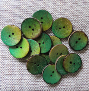 Coconut Buttons, Meadow Grass Textured Coconut Button - Medium, 22mm