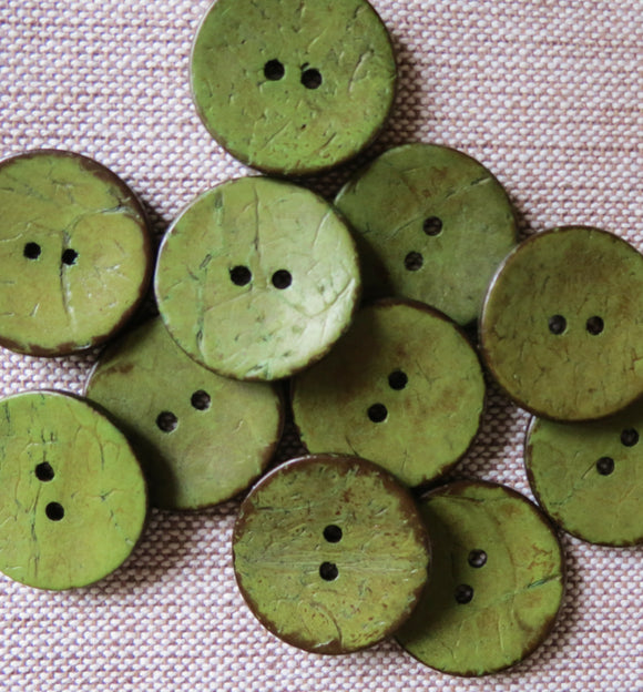 Coconut Buttons, Olive Green Rustic Textured Coconut Button - Large, 30mm