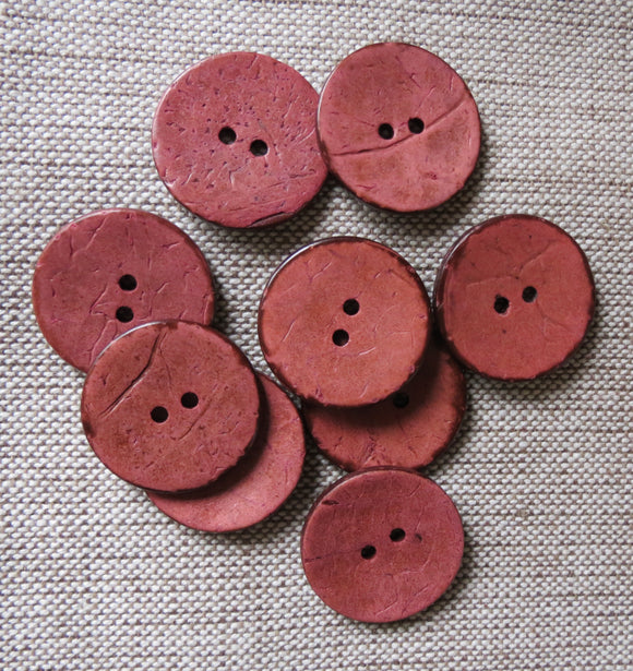 Coconut Buttons, Dusky Pink Rustic Textured Coconut Button - Large, 30mm
