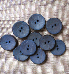 Coconut Buttons, Denim Blue Rustic Textured Coconut Button - Large, 30mm