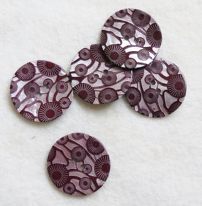 Designer Button, Italian Limited Edition Shell Buttons - Deco Wine 27mm