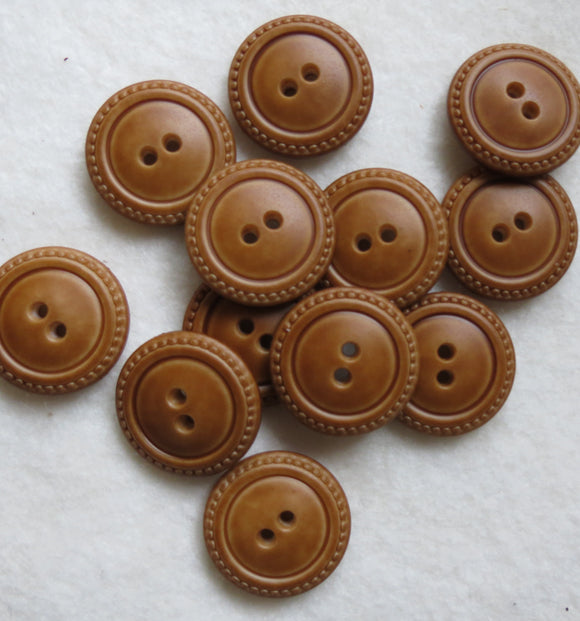 Leather-Look Buttons, Round Tan Button - 23mm, Set of 3