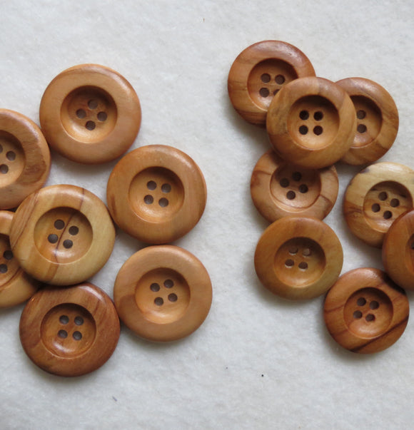 Natural Wood Buttons, Round Wooden Button - 23mm, Set of 3