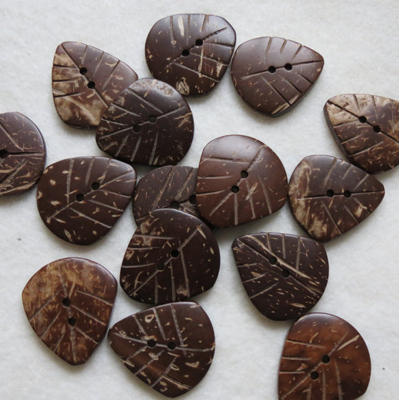 Coconut Wood Buttons, Smooth Leaf Button - Medium , 22mm, Set of 3
