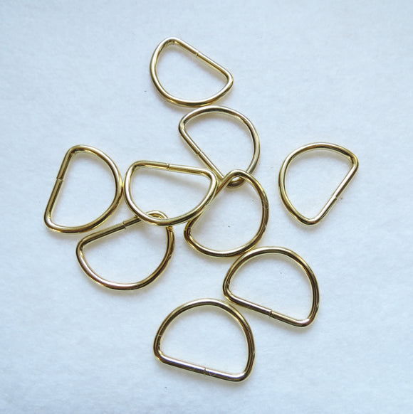 D Rings, Gold D-Rings - Gold 19mm - Pack of 6