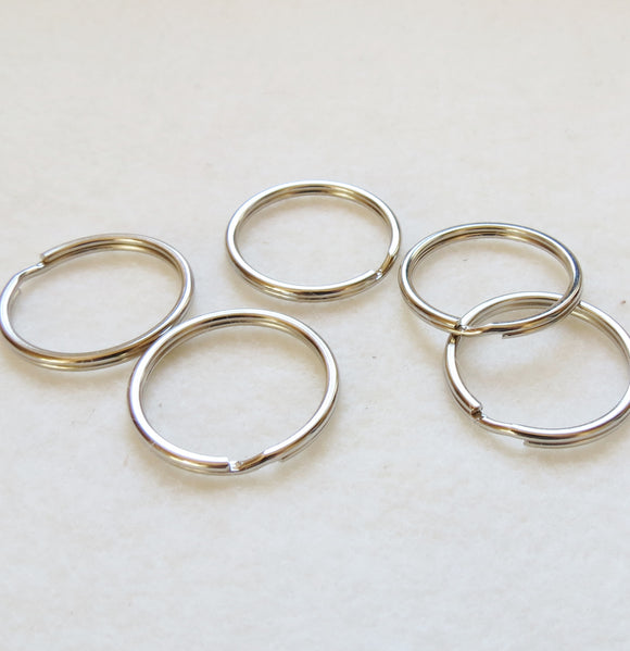 Split Rings for Key Rings, Bag Making -Silver 25mm -Pack of 5