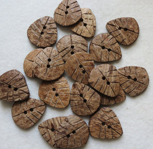 Coconut Wood Buttons, Rustic Leaf Button - Large, 30mm, Set of 3