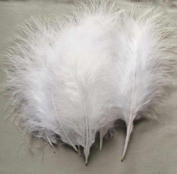 Marabou Feathers, Luxury Marabout Feathers - Premium White x6