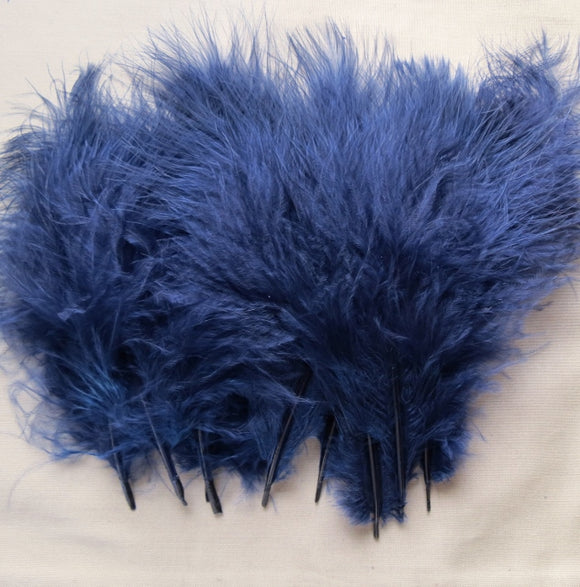 Marabou Feathers, Luxury Marabout Feathers - Premium Navy x 12