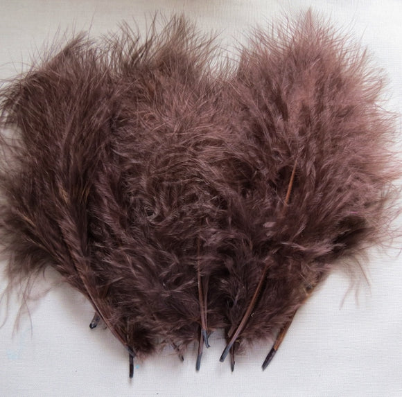 Marabou Feathers, Luxury Marabout Feathers - Premium Brown x 12