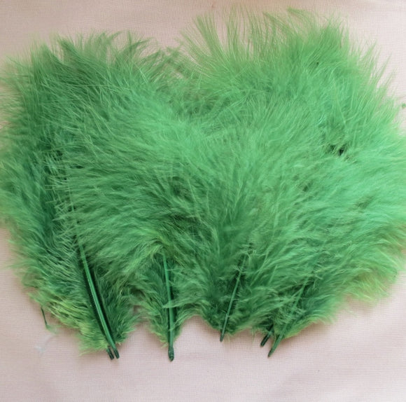 Marabou Feathers, Luxury Marabout Feathers - Premium Emerald x 12