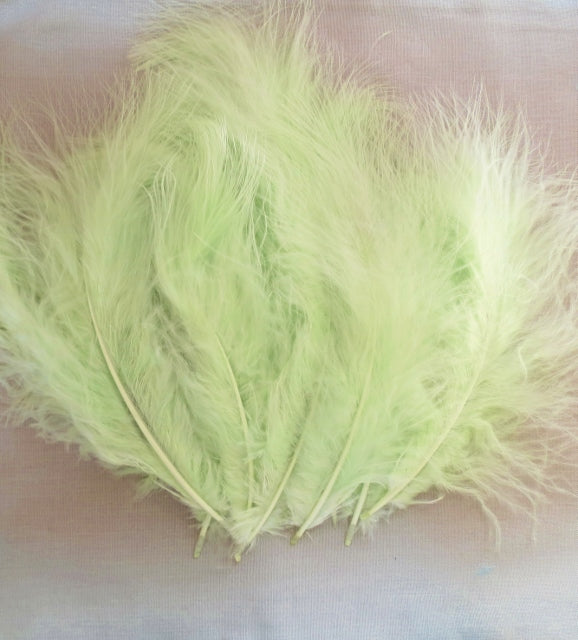 Marabou Feathers, Luxury Marabout Feathers - Premium Green x 12