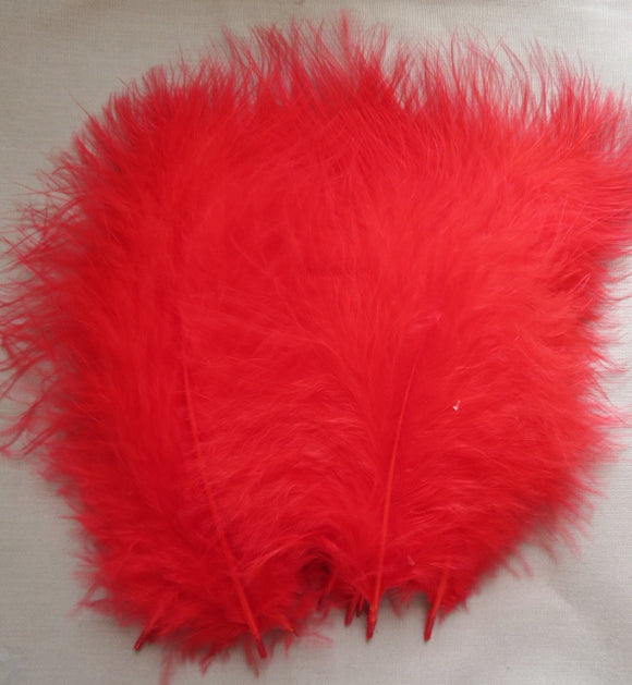 Marabou Feathers, Luxury Marabout Feathers - Premium Red x 12