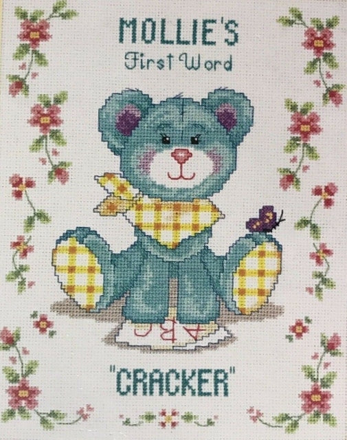 First Words Baby/Birth Sampler Cross Stitch Kit, Needle Treasures
