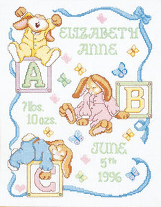 Sleepy Bunnies Birth Sampler Counted Cross Stitch Kit Janlynn 054-0048