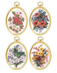 Embroidery Kit Butterfly Blossoms Embroidery Set of 4, 004-0668