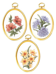 Embroidery Kit Country Florals Embroidery Set of 3, 004-0863