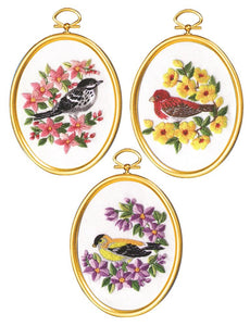 Embroidery Kit Flowers and Finches Embroidery Set of 3, 004-0866