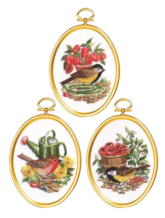 Embroidery Kit Garden Birds Embroidery Set of 3, 004-0865