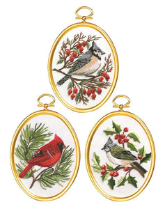 Embroidery Kit Winter Birds Embroidery Set of 3, 004-0861