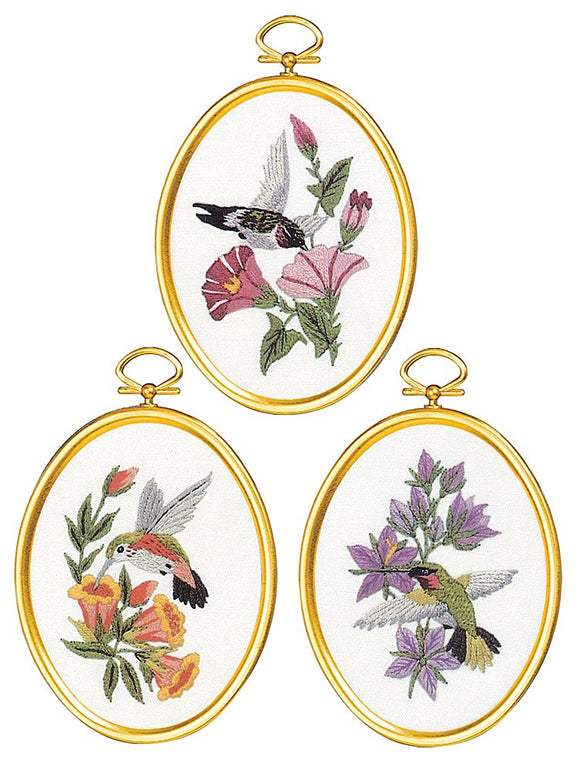 Embroidery Kit Hummingbirds Embroidery Set of 3, 004-0864
