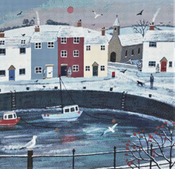 A Walk Around Winter Harbour Cross Stitch Kit, Jo Grundy