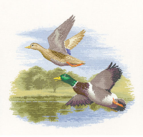 Mallard Ducks in Flight Counted Cross Stitch Kit, John Clayton, Heritage Crafts