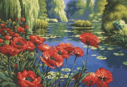 Lakeside Poppies Tapestry Needlepoint Kit, Dimensions D20066